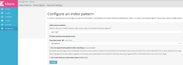 Kibana index setting