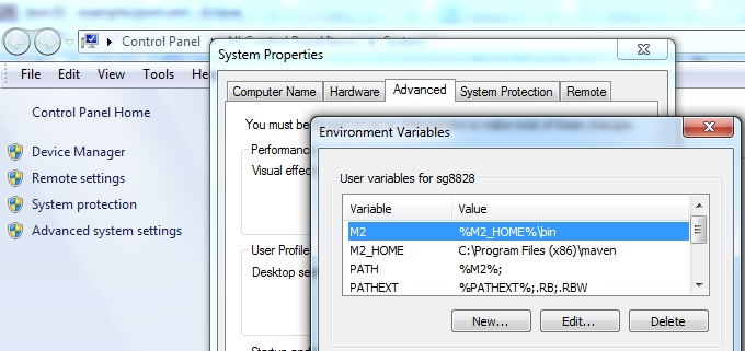maven environment variable window
