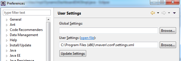 maven settings.xml path