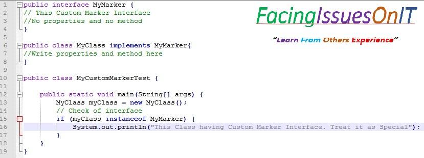 Custom Marker Interface Example