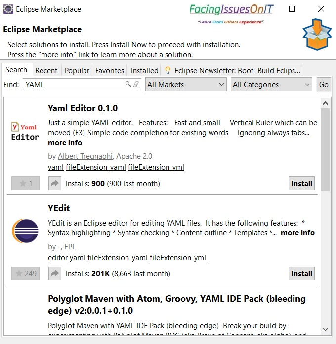YAML Editor in Eclipse
