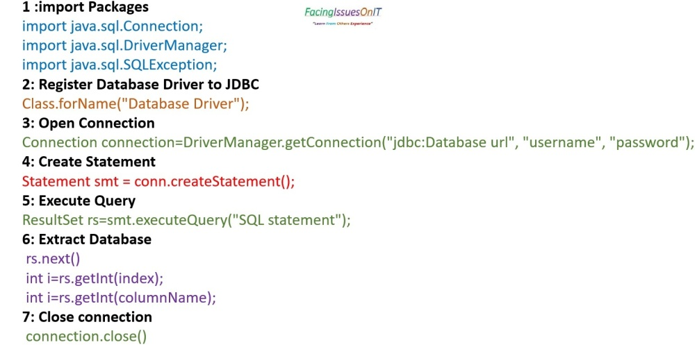 JDBC Steps for Connections
