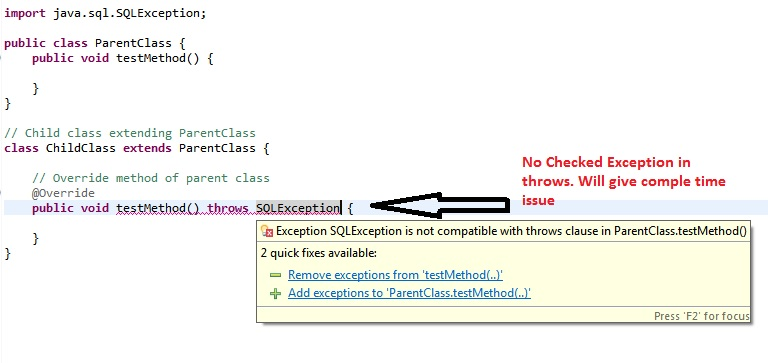 Override method throws no checked exception