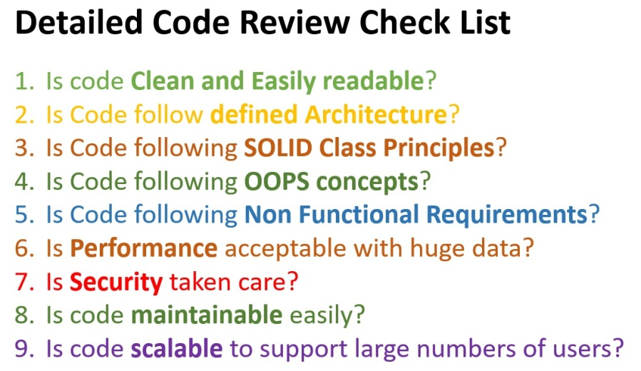 Detailed Code Review Check List