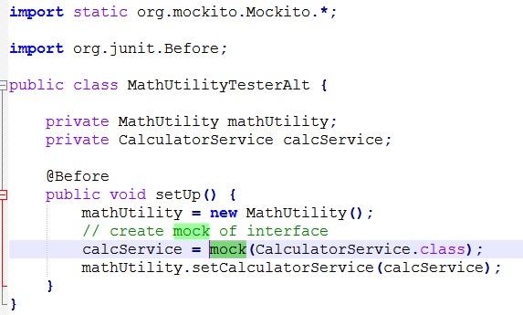 Create Mock Object by mock method