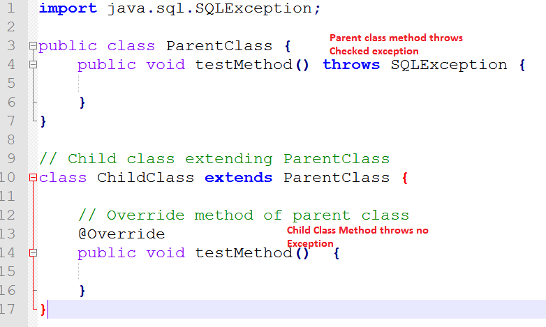 Parent Class Method Checked Exception Child Class No Exception