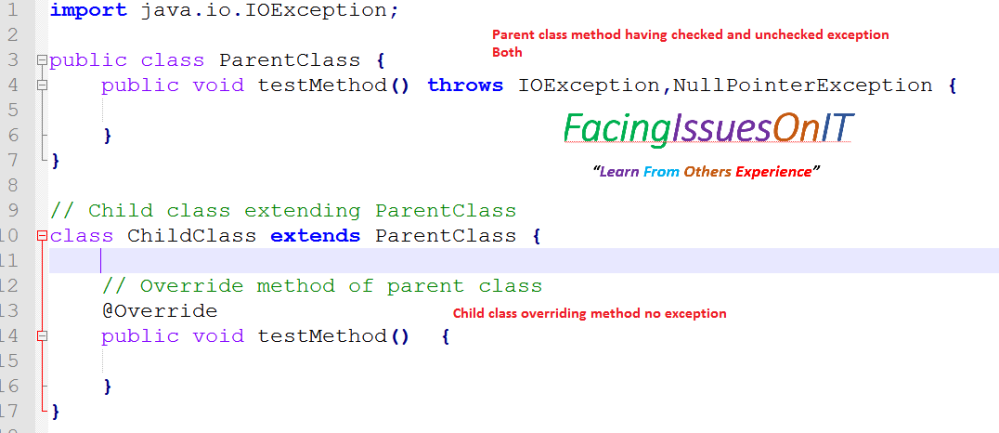 Parent class checked and uncheked exception child no exception
