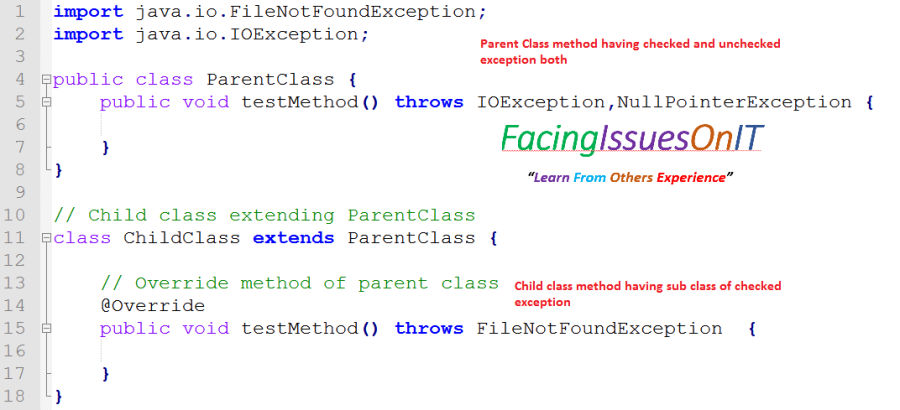 Parent class having checked and uncheked exception child class having sub class of cheked exception