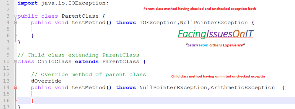 Parent class having cheked and unchecked exception and child class having unlimited unchecked exception