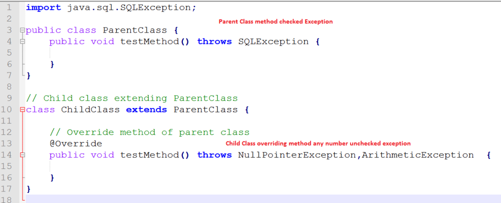 Parent class checked exception child class any number unchecked exception