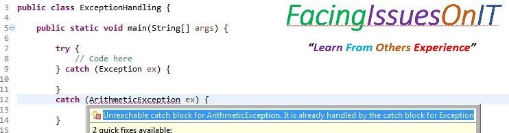 multi catch error for generic exception