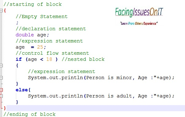 Java Block and Types of Statements