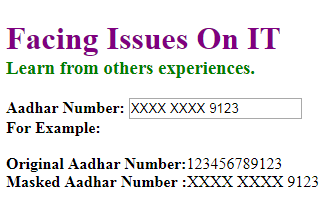 masked aadhar number on page
