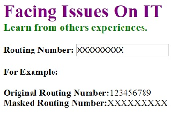 Masked Routing Number