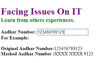 how to mask aadhar number on web page