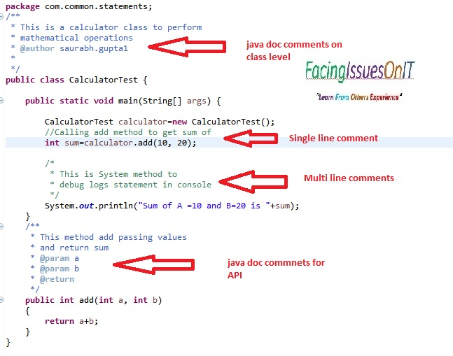 Java Comments Type