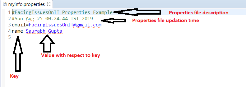 Properties file creation