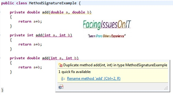 Java: Method Signature Example