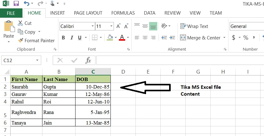 TIKA MS excel File Content and Metadata extrcation