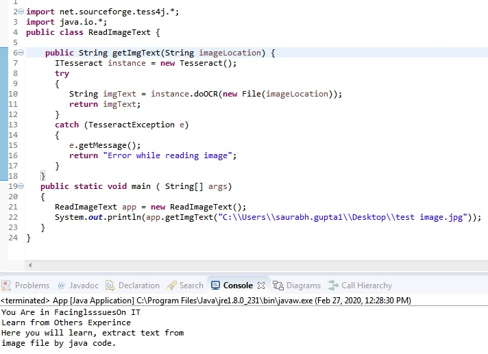 Java Code to Read Text from Image